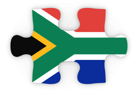 south african: South African Flag Puzzle Piece Top Down Orthographic 3D Illustration