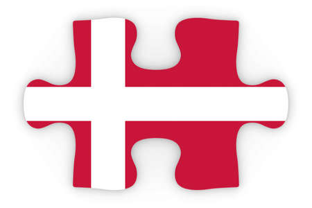 danish flag: Danish Flag Puzzle Piece Top Down Orthographic 3D Illustration