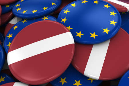 relations: Flag Badges of Latvia and Europe in Pile - Concept image for Latvian and European Relations - 3D Illustration