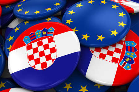 opposed: Flag Badges of Croatia and Europe in Pile - Concept image for Croatian and European Relations - 3D Illustration Stock Photo