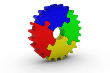 multicoloured: Multicoloured Jigsaw Puzzle Cog Wheel on White Background - 3D Illustration Stock Photo