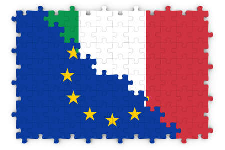 merged: European and Italian Relations Concept Image - Flags of the European Union and Italy Jigsaw Puzzle