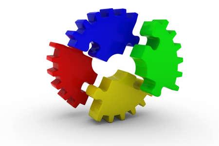 exploded: Multicoloured Exploded Jigsaw Puzzle Cog Wheel on White Background - 3D Illustration