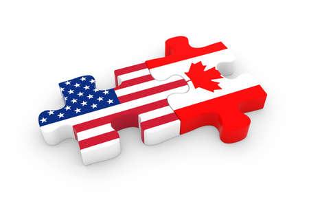 미국과 캐나다의 퍼즐 조각 - 미국과 캐나다 국기 퍼즐 3D 그림