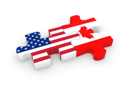 US and Canada Puzzle Pieces - American and Canadian Flag Jigsaw 3D Illustration Imagens - 57114064