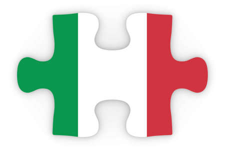 orthographic: Italian Flag Puzzle Piece Top Down Orthographic 3D Illustration