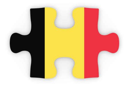orthographic: Belgian Flag Puzzle Piece Top Down Orthographic 3D Illustration Stock Photo