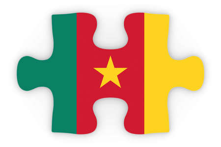 orthographic: Cameroonian Flag Puzzle Piece Top Down Orthographic 3D Illustration