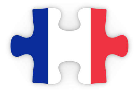 top down: French Flag Puzzle Piece Top Down Orthographic 3D Illustration