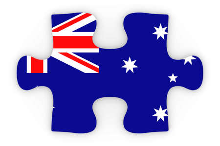 top down: Australian Flag Puzzle Piece Top Down Orthographic 3D Illustration