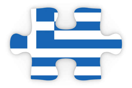 top down: Greek Flag Puzzle Piece Top Down Orthographic 3D Illustration