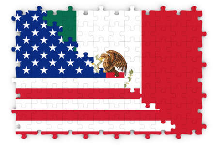 spangled: American and Mexican Relations Concept Image - Flags of the United States and Mexico Jigsaw Puzzle Stock Photo