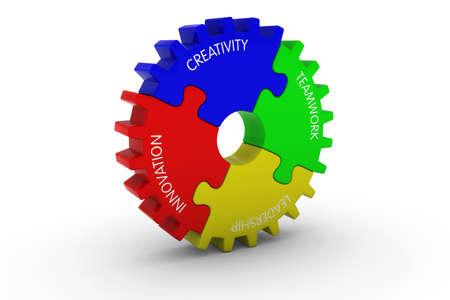 multicoloured: Creativity + Teamwork + Leadership + Innovation Multicoloured Jigsaw Puzzle Cog Wheel - 3D Illustration