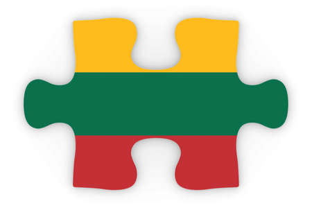 top down: Lithuanian Flag Puzzle Piece Top Down Orthographic 3D Illustration