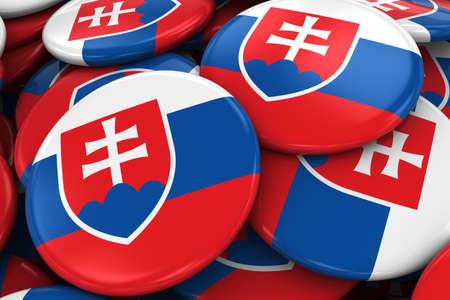 slovakian: Pile of Slovakian Flag Badges - Flag of Slovakia Buttons piled on top of each other - 3D Illustration