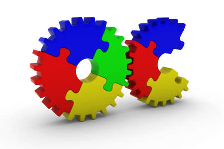 missing piece: Multicoloured Jigsaw Puzzle Cog Wheels with Missing Piece - 3D Illustration