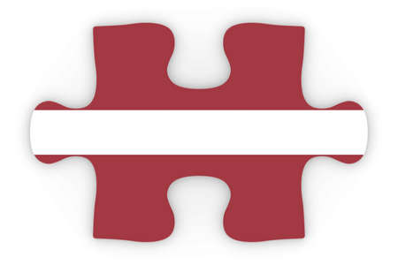 top down: Latvian Flag Puzzle Piece Top Down Orthographic 3D Illustration