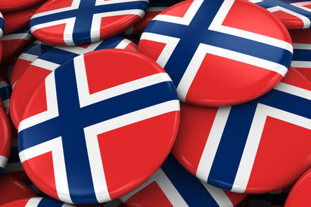 norwegian flag: Pile of Norwegian Flag Badges - Flag of Norway Buttons piled on top of each other - 3D Illustration