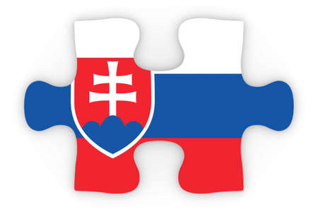 top down: Slovakian Flag Puzzle Piece Top Down Orthographic 3D Illustration Stock Photo