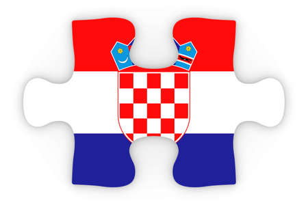 orthographic: Croatian Flag Puzzle Piece Top Down Orthographic 3D Illustration