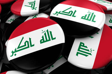 iraqi: Pile of Iraqi Flag Badges - Flag of Iraq Buttons piled on top of each other - 3D Illustration