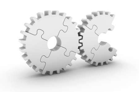 missing piece: White Jigsaw Puzzle Cog Wheels with Missing Piece - 3D Illustration Stock Photo