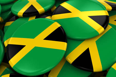 jamaican flag: Pile of Jamaican Flag Badges - Flag of Jamaica Buttons piled on top of each other - 3D Illustration Stock Photo