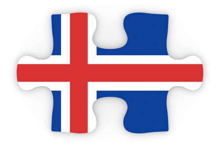 top down: Icelandic Flag Puzzle Piece Top Down Orthographic 3D Illustration Stock Photo