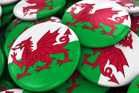welsh flag: Pile of Welsh Flag Badges - Flag of Wales Buttons piled on top of each other - 3D Illustration Archivio Fotografico