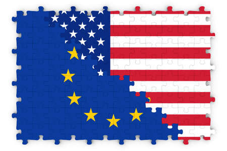 merged: European and American Relations Concept Image - Flags of the European Union and United States of America Jigsaw Puzzle Stock Photo