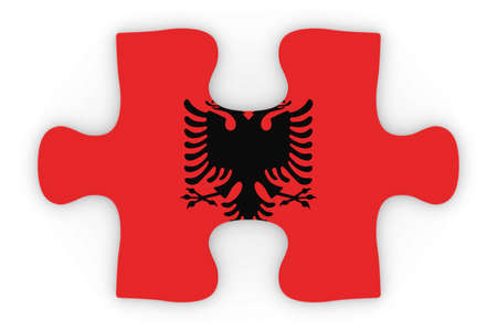 orthographic: Albanian Flag Puzzle Piece Top Down Orthographic 3D Illustration