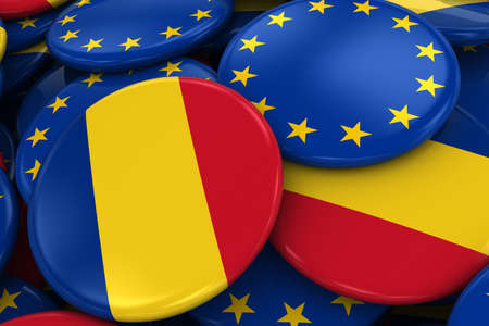 opposed: Flag Badges of Romania and Europe in Pile - Concept image for Romanian and European Relations - 3D Illustration