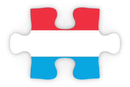 top down: Luxembourgian Flag Puzzle Piece Top Down Orthographic 3D Illustration