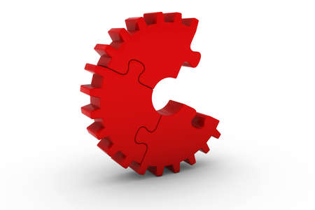 missing piece: Red Jigsaw Puzzle Cog Wheel with Missing Piece - 3D Illustration