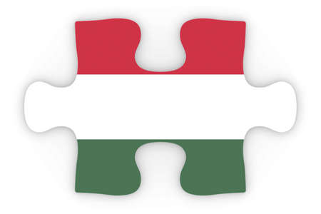 top down: Hungarian Flag Puzzle Piece Top Down Orthographic 3D Illustration