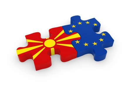 macedonian flag: Macedonia and EU Puzzle Pieces - Macedonian and European Flag Jigsaw 3D Illustration