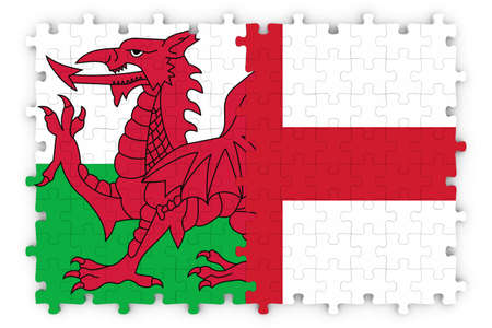 merged: English and Welsh Relations Concept Image - Flags of England and Wales Jigsaw Puzzle