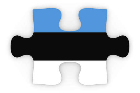 orthographic: Estonian Flag Puzzle Piece Top Down Orthographic 3D Illustration Stock Photo