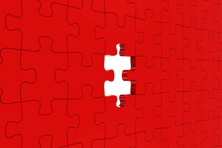 missing: Red Jigsaw Puzzle with Missing Piece Stock Photo
