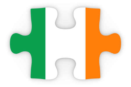 top down: Irish Flag Puzzle Piece Top Down Orthographic 3D Illustration Stock Photo