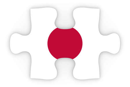 top down: Japanese Flag Puzzle Piece Top Down Orthographic 3D Illustration