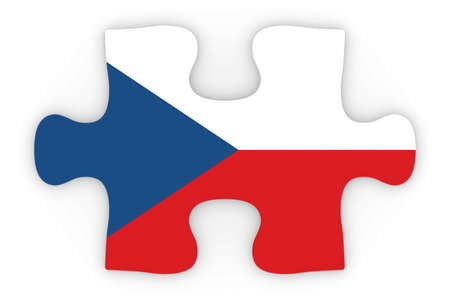 top down: Czech Flag Puzzle Piece Top Down Orthographic 3D Illustration