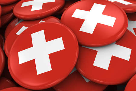 swiss flag: Pile of Swiss Flag Badges - Flag of Switzerland Buttons piled on top of each other - 3D Illustration