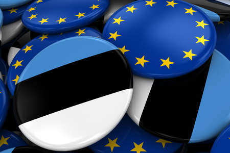 opposed: Flag Badges of Estonia and Europe in Pile - Concept image for Estonian and European Relations - 3D Illustration Stock Photo