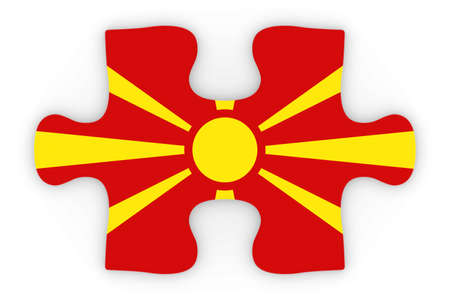 top down: Macedonian Flag Puzzle Piece Top Down Orthographic 3D Illustration
