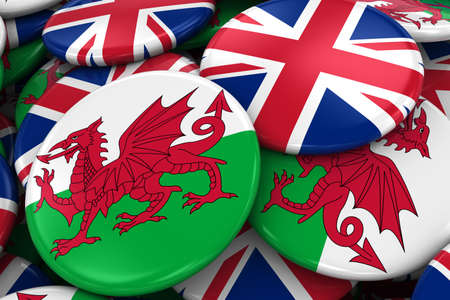 welsh: Flag Badges of Wales and UK in Pile - Concept image for Welsh and British Relations - 3D Illustration