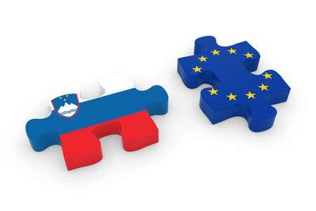 slovenian: Slovenia and EU Puzzle Pieces - Slovenian and European Flag Jigsaw 3D Illustration