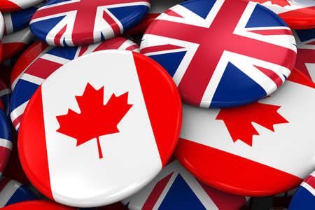 opposed: Flag Badges of Canada and UK in Pile - Concept image for Canadian and British Relations - 3D Illustration Stock Photo