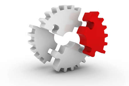 exploded: White Exploded Jigsaw Puzzle Cog Wheel with Red Piece on White Background - 3D Illustration Stock Photo
