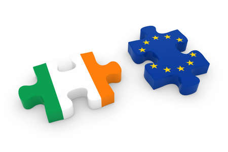 Ireland and EU Puzzle Pieces - Irish and European Flag Jigsaw 3D Illustration Stock Photo